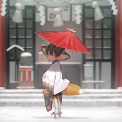 1boy animal_ears bangs black_hair blue_eyes blurry child chromatic_aberration closed_mouth depth_of_field floral_print fox_boy fox_ears fox_tail free! full_body geta hair_between_eyes hana_bell_forest haori holding holding_umbrella japanese_clothes long_sleeves looking_at_viewer looking_back male_focus nanase_haruka_(free!) oriental_umbrella rope shade shide shimenawa shinto shrine slit_pupils snow solo stairs standing striped tabi tail temple umbrella vertical_stripes white_legwear wide_sleeves younger