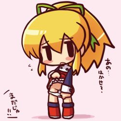 1girl black_eyes blonde_hair blush blush_stickers boots capcom chibi dress dress_lift embarrassed female full_body hair_ornament hair_ribbon high_ponytail ikkyuu loli long_hair looking_at_viewer open_mouth panties panty_pull pink_background ponytail pussy ribbon rockman rockman_(classic) roll short_dress simple_background solid_oval_eyes solo standing text translated uncensored