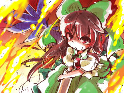 1girl arm_cannon bow brown_hair cape embers fire hair_bow long_hair red_eyes reiuji_utsuho shinapuu sketch skirt smile solo third_eye touhou weapon wings