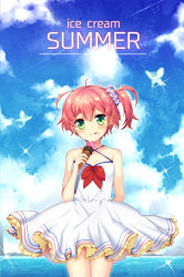 1girl :p bare_shoulders blush butterfly dress english green_eyes highres ice_cream_cone kirasaki original pink_hair short_hair side_ponytail sky smile solo text tongue tongue_out water