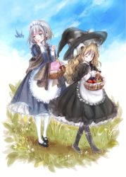 2girls apple apron bangs bird black_boots black_capelet black_dress black_legwear black_shoes blonde_hair blue_dress blue_eyes boots braid capelet commentary_request covering_mouth dress eyes_closed food frilled_capelet fruit grey_hair hat highres himemurasaki holding_basket izayoi_sakuya kirisame_marisa long_hair long_sleeves maid_headdress multiple_girls mushroom shawl shoes short_hair standing touhou walking wavy_hair white_legwear witch_hat