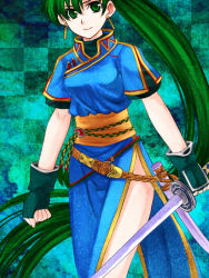 1girl 74 checkered checkered_background fingerless_gloves fire_emblem fire_emblem:_rekka_no_ken gloves green_eyes green_hair long_hair lyndis_(fire_emblem) ponytail scabbard sheath side_slit smile solo sword unsheathed very_long_hair weapon