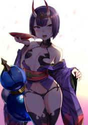 1girl alcohol blush cherry_blossoms cup dripping fangs fate/grand_order fate_(series) gourd horns japanese_clothes kimono looking_at_viewer off_shoulder omochi_no_kimochi oni oni_horns open_mouth purple_eyes purple_hair sakazuki sake sexually_suggestive shadow short_hair shuten_douji_(fate/grand_order) solo thighhighs tongue tongue_out
