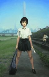 1girl bag black_hair bridge brown_eyes building cellphone cityscape grass legs nababa no_socks original phone riverbank scenery school_uniform serafuku short_hair sitting skirt skyscraper solo