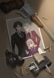 1boy 2girls :d artist_request black_hair bullet cigarette cigarette_box dress emiya_kiritsugu explosive eyes_closed facial_hair family fate/zero fate_(series) glint grenade group_picture gun handgun highres hollow_eyes illyasviel_von_einzbern indoors irisviel_von_einzbern labcoat light lighter multiple_girls necktie open_mouth photo_(object) red_eyes shell_casing smile stubble table thompson_contender weapon white_hair