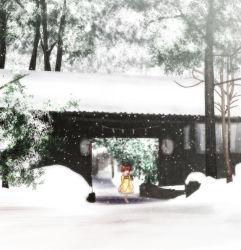 1girl book brown_eyes brown_hair gate japanese_clothes kimono lantern long_sleeves motoori_kosuzu satou_yuuki snow snowing solo touhou tree twintails wide_sleeves