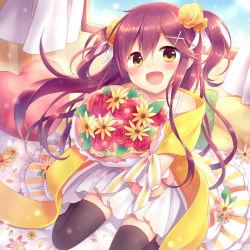1girl amane_kurumi bouquet curtains dress flower hair_flower hair_ornament heart long_hair open_mouth original pillow purple_hair sitting smile solo thighhighs twintails window yellow_eyes