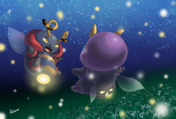 antennae fireflies flower flying glowing highres illumise insect_wings night no_humans pokemon star_(sky) volbeat wings