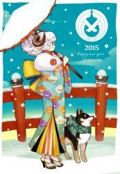 1girl 2015 animal_ears artist_name cloud dog english fence happy_new_year high_heels l_hakase new_year oriental_umbrella original sheep sheep_ears short_hair sky snow umbrella winter