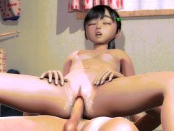 1boy 1girl 3d animated animated_gif black_hair breasts censored cum cum_in_pussy ecchi_na_kanojo ejaculation hair_ornament hairpin loli long_hair nijiirobanbi oh_china_she pussy sex small_breasts spread_legs thighs vaginal