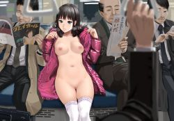 1girl 4boys aqua_eyes bald black_hair breasts breath cellphone exhibitionism formal glasses hood magazine multiple_boys naked_coat navel necktie newspaper nipples old_man open_clothes original pao_(otomogohan) payot phone public_nudity pussy reading salaryman sitting smartphone suit suitcase thighhighs train train_interior uncensored white_legwear winter_clothes winter_coat