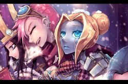 beancurd blonde_hair blue_eyes brown_hair caitlyn_(league_of_legends) coat goggles goggles_on_head hat highres jinx_(league_of_legends) league_of_legends long_hair multiple_girls notebook open_mouth orianna_reveck pink_hair scarf smile snow vi_(league_of_legends)