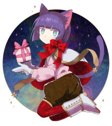 1girl :< androgynous animal_ears bangs blue_eyes blunt_bangs bob_cut boots bow capelet cat_ears cat_tail commentary_request full_body gift gloves kuroi kuroinyan long_sleeves looking_at_viewer looking_to_the_side multicolored_eyes night night_sky original pixiv_fantasia pixiv_fantasia_new_world purple_hair red_legwear red_ribbon ribbon short_hair sky solo star sweater tail white_background white_boots white_gloves