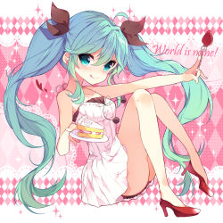 1girl :q ahoge aqua_hair bare_legs blue_eyes blush cake dress food fork fruit gradient_hair hair_ribbon hatsune_miku heart high_heels highres holding_fork holding_plate ikari_(aor3507) licking_lips long_hair looking_at_viewer multicolored_hair plate ribbon solo song_name sparkle strawberry strawberry_shortcake thighhighs tongue tongue_out twintails very_long_hair vocaloid white_dress world_is_mine_(vocaloid)