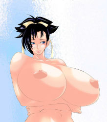1girl areolae artist_request bakuretsu_tenshi black_hair breasts gigantic_breasts hair_ribbon highres lips nipples nude ponytail ribbon sei sei_(bakuretsu_tenshi) short_hair smile solo