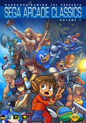 4girls 6+boys abs alex_kidd alex_kidd_(character) alien_storm alien_syndrome altered_beast arm_cannon armor ax_battler axe bald bangs beard beret bikini bin_(dynamite_dux) bird blonde_hair blue_hair blunt_bangs bob_cut bomb boots bow bowtie breasts brown_hair cigarette company_connection cover crop_top crossed_arms crossover cyber_police_eswat dark_skin duck duke_oda dwarf dynamite_dux edger english everyone facial_hair fangs fantasy_zone firing gilius_thunderhead goggles golden_axe gordon_(alien_storm) gun hair_over_one_eye harrier_(character) hat helmet holding hood horned_helmet horns joe_(quartet) joe_musashi jonathan_kim juuouki karla_(alien_storm) lee_(quartet) long_hair male_swimwear mary_(alien_syndrome) mary_(quartet) mask mecha midriff monster_world monster_world_iv multiple_boys multiple_crossover multiple_girls muscle mustache navel ninja opa-opa open_mouth overalls pepelogoo pointy_ears ponytail power_armor quartet ricky_(alien_syndrome) rifle robot rock_paper_scissors scooter_(alien_storm) scouter sega shinobi_(arcade) shinobi_(game) shirtless short_hair sideburns silver_hair smile space_harrier sunglasses swim_briefs swimsuit swimwear sword teddy_boy_blues tyris_flare underboob v vambraces weapon werewolf white_hair