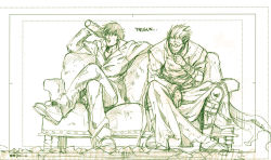 2boys bottle coat colored_pencil_(medium) couch drink drinking eyes_closed formal gloves high_collar katomiman legs_crossed long_coat male monochrome multiple_boys nicholas_d_wolfwood open_collar short_hair sitting smile spiked_hair suit sunglasses torn_clothes traditional_media trigun vash_the_stampede