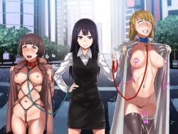 3girls ahegao artist_request bdsm black_hair blonde_hair blue_eyes blush bondage breasts brown_eyes brown_hair character_request clenched_teeth collar exhibitionism femdom flashing hand_on_hip humiliation large_breasts leash long_hair multiple_girls navel nipple_vibrator nipples office_lady open_clothes open_coat outdoors pubic_hair public purple_eyes pussy_juice rolling_eyes shaved_pussy shibari short_hair slave sweat thighhighs trembling trench_coat vibrator yuri