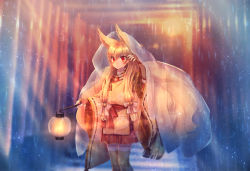 animal_ears fingerless_gloves fox_ears full_body gloves lantern long_hair magatama moe_(hamhamham) ninetales outdoors paper_lantern personification pokemon rain red_eyes solo standing tan_legwear twintails very_long_hair wide_sleeves wristband