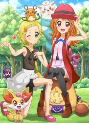 3girls :d ;) adjusting_clothes adjusting_hat aikatsu! animal_on_head animal_on_shoulder armpits aura backpack bag bangs bare_shoulders bike_shorts black_legwear blazer blonde_hair blue_ribbon blue_sky blunt_bangs blush blush_stickers boots bow braid cloud coat convenient_leg cosplay day dedenne eureka_(pokemon) eureka_(pokemon)_(cosplay) fangs fennekin forest french_braid genesect gloves glowing green_eyes grey_skirt hair_bow hair_ornament hand_on_own_chest handbag heart highres hikami_sumire kneeling knees_together_feet_apart light_smile loincloth long_hair looking_at_viewer mary_janes multiple_girls nature older one_eye_closed oozora_akari open_clothes open_coat open_mouth outdoors outstretched_arm pink_eyes pokemoa pokemon pokemon_(anime) purple_eyes purple_hair ribbon serena_(pokemon) serena_(pokemon)_(cosplay) shinjou_hinaki shoes short_hair sitting sitting_on_person skirt skirt_set sky sleeveless small_breasts smile star star_hair_ornament tail thighhighs wavy_hair winking wrist_cuffs