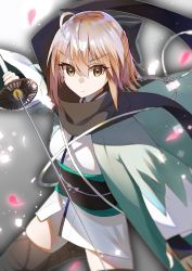 1girl ahoge balck_scarf bangs black_bow black_legwear blonde_hair blurry bow brown_eyes closed_mouth depth_of_field eyebrows_visible_through_hair fate_(series) fuotchan hair_between_eyes hair_bow half_updo highres holding holding_sword holding_weapon japanese_clothes katana kimono kimono_skirt koha-ace looking_at_viewer obi petals sakura_saber sash shinsengumi solo sword thighhighs thighs weapon white_kimono