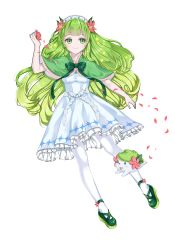 blue_dress bow dress flower green_eyes green_hair green_shoes long_hair pantyhose personification petals pokemon pokemon_(game) riche rose_petals shaymin white_legwear