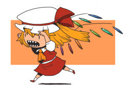 1girl ascot blonde_hair flandre_scarlet hat onikobe_rin open_mouth ribbon short_hair side_ponytail solo teeth touhou wings