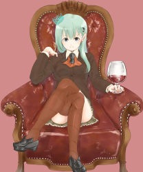 1girl alcohol armchair chair crown cup drinking_glass glasses green_eyes green_hair hair_ornament hairclip highres holding holding_glasses jacket kantai_collection legs_crossed loafers long_hair looking_at_viewer pleated_skirt raised_hand school_uniform shoes simesabaikka sitting skirt smile solo suzuya_(kantai_collection) thighhighs wine wine_glass