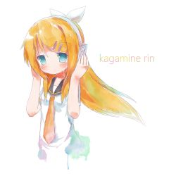 1girl alternate_hair_length alternate_hairstyle blonde_hair blue_eyes character_name closed_mouth eyebrows eyebrows_visible_through_hair faux_traditional_media hair_ornament hair_ribbon hairclip head_tilt headset kagamine_rin long_hair necktie ribbon sailor_collar short_sleeves simple_background solo tinzing tinzing_saamzong traditional_media vocaloid watercolor_(medium) white_background white_ribbon yellow_necktie