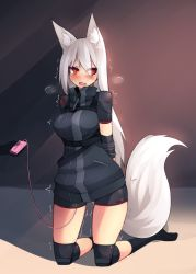 1girl animal_ears arms_behind_back bdsm bike_shorts black_legwear blush bondage bound drooling eyes_visible_through_hair fox_ears fox_girl fox_tail highres knee_pads kneehighs kneeling long_hair looking_away looking_to_the_side no_shoes open_mouth original red_eyes remote_control_vibrator restrained solo_focus sub-res sweat tail tears torogao trembling vibrator white_hair