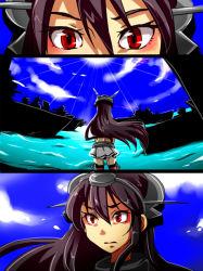 1girl 3koma comic headgear kantai_collection long_hair nagato_(kantai_collection) operation_crossroads red_eyes ship silent_comic solo takeko watercraft