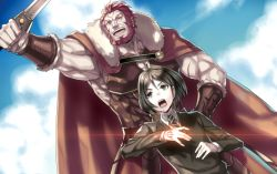 2boys armor bangs beard black_hair boushiya_goyachanpuru cape command_spell facial_hair fate/zero fate_(series) gradient_background multiple_boys pteruges red_hair rider_(fate/zero) sky swept_bangs sword waver_velvet weapon