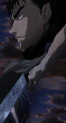 1boy berserk black_hair guts highres solo stitched sword