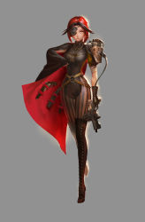 1girl black_hair boots cape eyepatch gun highres jewelry lost_elle multicolored_hair necklace original pixiv_fantasia pixiv_fantasia_t red_eyes red_hair short_hair simple_background solo steampunk two-tone_hair weapon