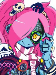 1girl antan bespectacled blue_skin code_of_princess glasses hair_ornament lady_zozo pink_hair red_eyes scarf skull_hair_ornament smile solo spider stitches yellow_eyes