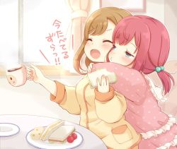 >:o 2girls :o ^_^ aqua_eyes bangs brown_hair commentary_request cup curtains eyes_closed food frills hair_bobbles hair_ornament half-closed_eyes hug hug_from_behind kunikida_hanamaru kurosawa_ruby long_sleeves love_live! love_live!_sunshine!! mug multiple_girls pajamas picture_frame pink_pajamas plate polka_dot_pajamas pout red_hair ringo_(nanaprin) sandwich sitting table translated twintails window younger yuri