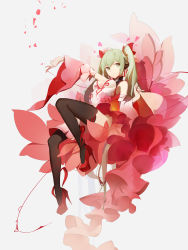 1girl absurdres black_legwear breasts cleavage closed_mouth detached_sleeves dress frilled_dress frills full_body green_eyes green_hair hand_up hatsune_miku headset high_heels highres looking_at_viewer medium_breasts outstretched_arm platform_footwear red_dress red_flower red_flowers red_shoes shoes solo thighhighs twintails vocaloid white_dress wide_sleeves