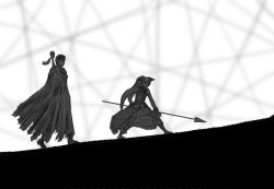 1boy 1girl berserk crossover guts huge_weapon long_hair mahou_shoujo_madoka_magica monochrome nemo_(nameless920) polearm sakura_kyouko sword weapon