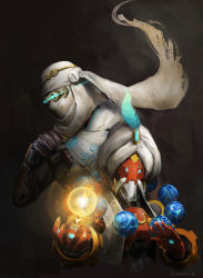 2016 2boys armor artist_name beard bodysuit clenched_hand cyborg dated earrings facial_hair feathers gem genji_(overwatch) glowing glowing_eyes goggles hand_up hands_up humanoid_robot jewelry monk multiple_boys orb outstretched_hand overwatch power_armor robot scarf shemagh signature sparkle sun_stark turban upper_body zenyatta_(overwatch)