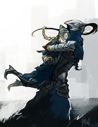 1boy 1girl armor artorias_the_abysswalker artsed black_hair braid dark_souls full_armor gauntlets glomp height_difference helmet hug knight lord's_blade_ciaran mask ponytail single_braid souls_(from_software)