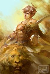 1boy abs animal blonde_hair blue_eyes highres lars_alexandersson lion manly muscle shirtless short_hair solo spiked_hair sword tekken ultramarine weapon
