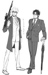 2boys bespectacled dio_brando formal glasses gun highres jojo_no_kimyou_na_bouken jonathan_joestar kingsman:_the_secret_service monochrome multiple_boys parody rifle sb_(hiratsei) sniper_rifle suit umbrella weapon