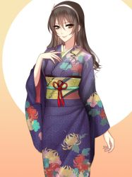 1girl ashigara_(kantai_collection) black_hair brown_eyes floral_print flower hair_ornament hand_on_own_chest headband japanese_clothes kantai_collection kimono lips long_hair looking_at_viewer meaomao obi sash smile solo spider_lily upper_body wavy_hair wide_sleeves yukata