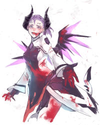 1girl alternate_costume blood blood_on_face bloody_clothes bloody_hands bodysuit breasts cowboy_shot crazy dark_persona demon_horns demon_tail evil facial_mark fangs faulds forehead_mark glowing glowing_wings hei_chuan_gui highres horns imp_mercy injury looking_at_viewer makeup mechanical_wings medium_hair mercy_(overwatch) open_mouth outstretched_hand overwatch pelvic_curtain ponytail purple_eyes purple_hair purple_lips purple_wings reaching_out simple_background sketch small_breasts smile solo tail torn_bodysuit torn_clothes white_background white_bodysuit wings
