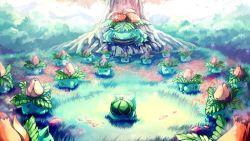 bulbasaur creature epic family fangs grass highres ivysaur nature nintendo no_humans outdoors petals pokemon pokemon_(anime) sa-dui tree venusaur