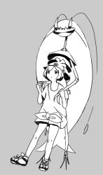 1girl antennae bangs beanie cockroach eyelashes female_protagonist_(pokemon_sm) grey_background hat insect looking_up pheromosa pleo pokemon pokemon_(game) pokemon_sm shirt shoes short_hair short_sleeves shorts simple_background sneakers swept_bangs tiara tied_shirt ultra_beast
