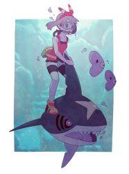 1girl bike_shorts diving diving_mask fanny_pack gojya hair_ribbon haruka_(pokemon) haruka_(pokemon)_(remake) luvdisc outside_of_border pokemon pokemon_(game) pokemon_oras ribbon riding sharpedo shoes short_shorts shorts sleeveless sleeveless_shirt sneakers two_side_up underwater