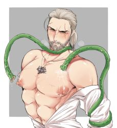 1boy abs beard blush facial_hair geralt_of_rivia kiricloud male_focus monster muscle nipples pecs restrained scar slime steam tentacle the_witcher the_witcher_3 undressing