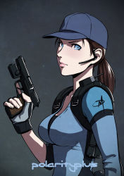 1girl alternate_costume armpit_holster baseball_cap blue_eyes breasts brown_hair daniel_macgregor fingerless_gloves gloves gun handgun hat headset holster jill_valentine laser_sight lips long_hair nose pistol ponytail resident_evil resident_evil_5 solo trigger_discipline upper_body weapon