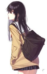 1girl aiko_(aiko_54) artist_name bag bangs black_hair black_skirt cardigan cowboy_shot eyebrows_visible_through_hair from_side hair_between_eyes hands_in_pockets highres koe_no_katachi long_hair looking_at_viewer looking_back neckerchief open_cardigan open_clothes pleated_skirt purple_eyes red_neckerchief school_bag school_uniform serafuku shoulder_bag signature simple_background skirt solo thighs tongue tongue_out white_background